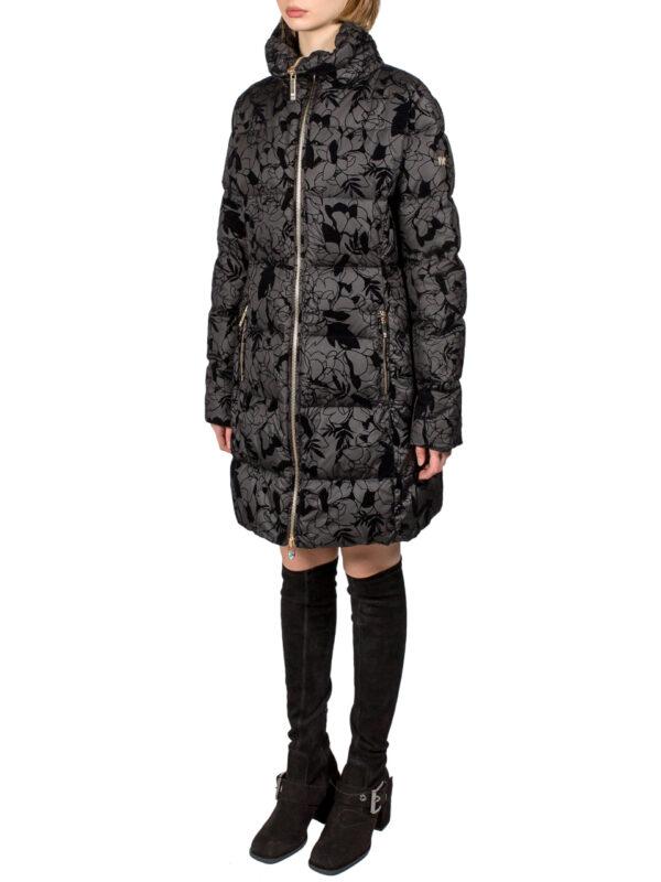 Пальто-пуховик VDP черный стеганый велюр