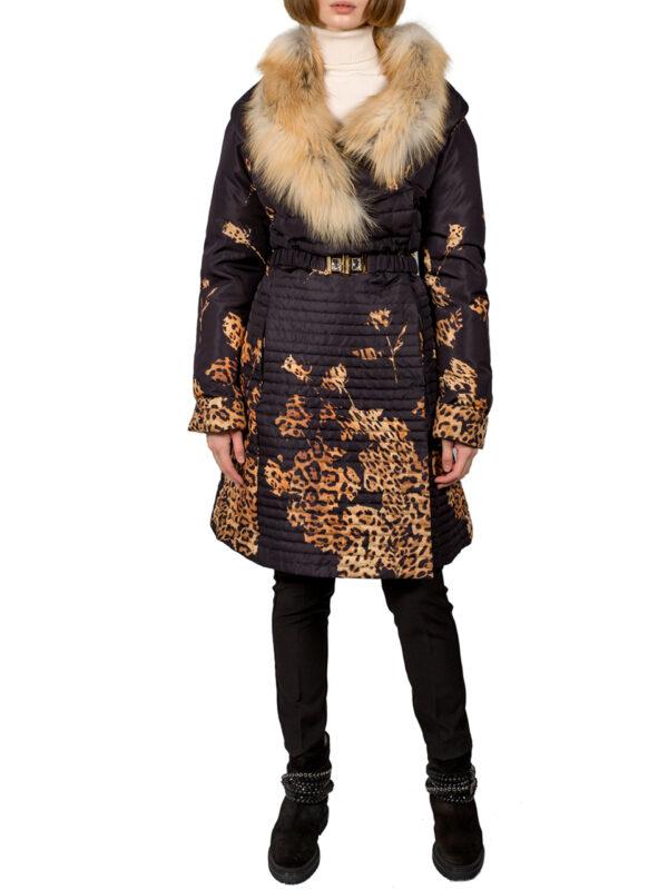 Куртка Blumarine черная с леопардовым принтом и меховым воротником