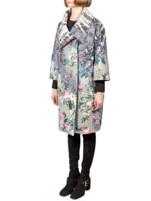 Пальто Elisa Fanti серое с цветочным принтом и камнями