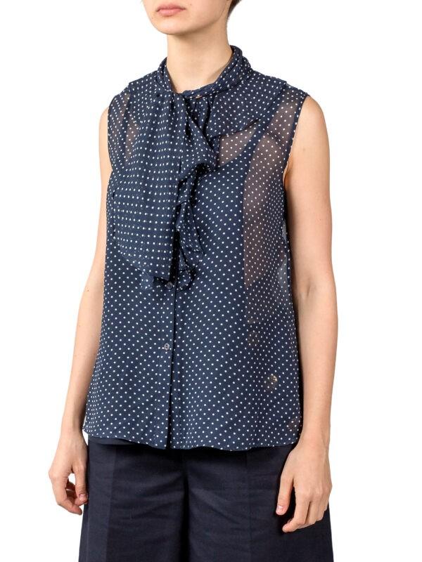 Блуза  Luisa Spagnoli синего цвета в горох