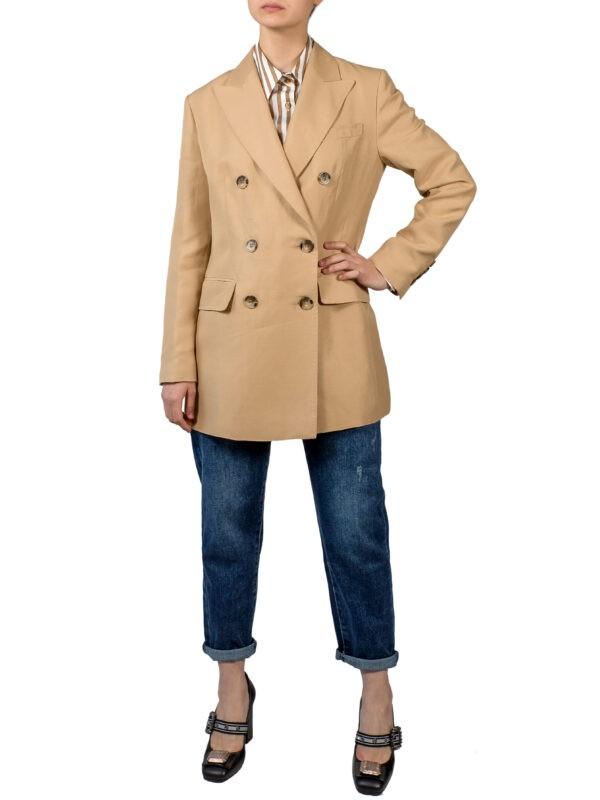 Пиджак бежевого цвета лен