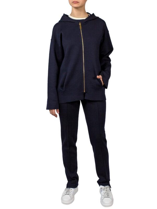 Куртка Luisa Spagnoli двусторонняя синяя в полоску с капюшоном