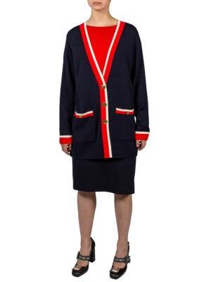 Кардиган Luisa Spagnoli синего цвета с цветной отделкой и накладными карманами