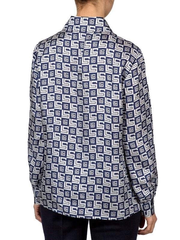 Блуза Luisa Spagnoli белого цвета с синим орнаментом