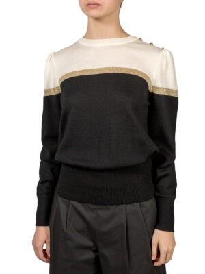 Кофта Luisa Spagnoli черного цвета, молочный вверх на плече с пуговицами