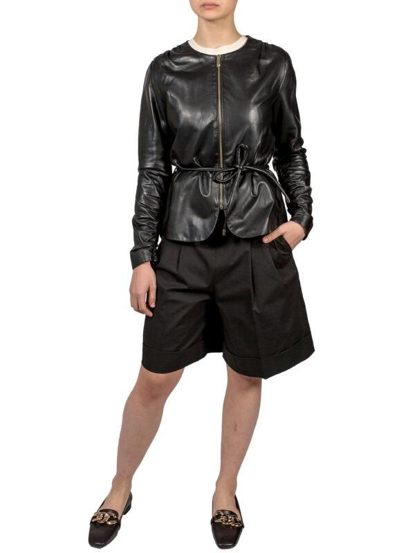 Куртка Luisa Spagnoli кожа черного цвета с поясом