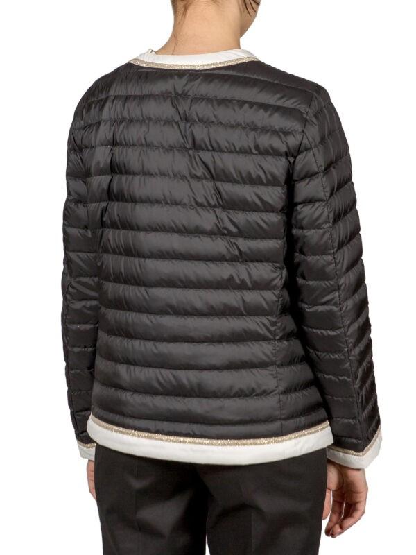 Куртка Luisa Spagnoli черного цвета с бежевой отделкой на молнии